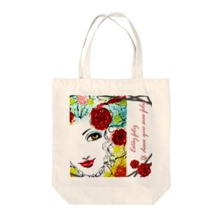 Estoy Feliz : red rose Tote bags