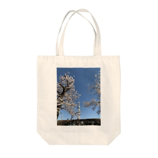 スカイツリーと隅田川の桜 Tote bags