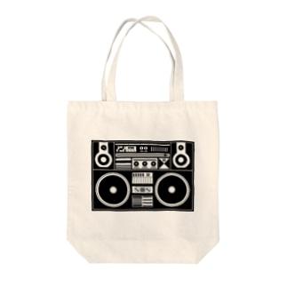 ラジカセ Tote bags
