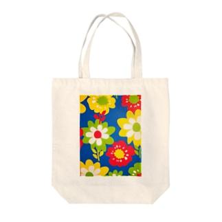 レトロフラワー Tote bags