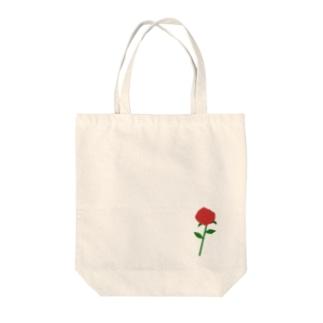 一輪の赤いバラ Tote bags