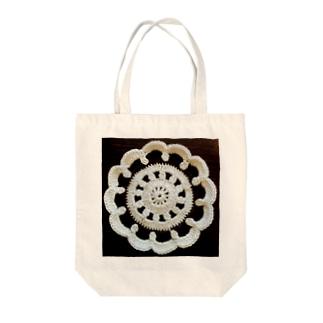 白黒ドイリー Tote bags