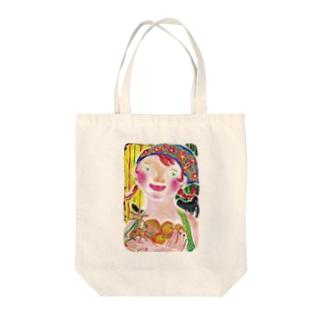 オレンジ娘 Tote bags