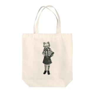 狐とアコーディオンと水玉 Tote bags