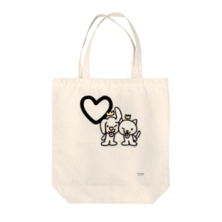デカ文字わんこ「♡」 Tote bags