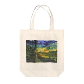 夕焼けの湖 Tote bags