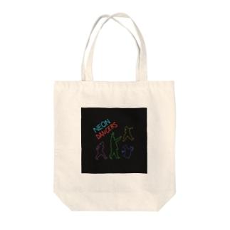 ネオンカラーのダンサー集団 Tote bags