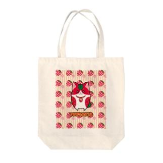 [フルーツ猫シリーズ]いちご猫のフラガリア・縁取りver. Tote bags