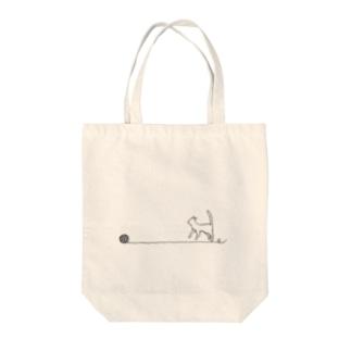 ワンポイント毛糸玉と猫 Tote bags