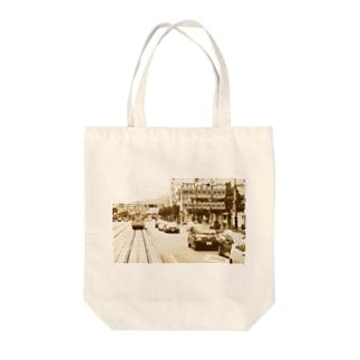 愛媛県:松山市駅前通 Ehime: JR station & streetcar in Matsuyama Tote bags