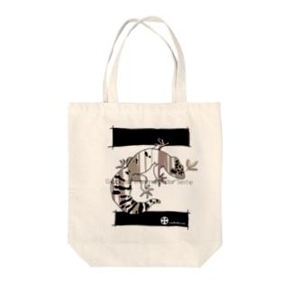 ストライプ・レオパ(レッド) Tote bags