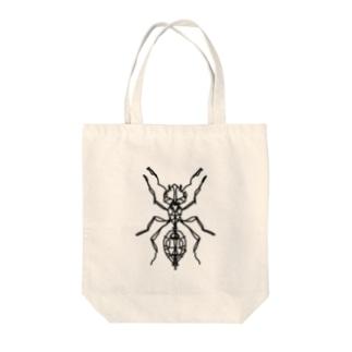 ant (あり) モノトーンバージョン Full of vitality (フル オブ バイタリティ) Tote bags