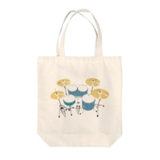 ドラムセット(ブルー) Tote bags