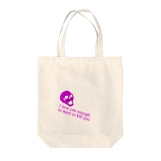 スカルと英字 Tote bags
