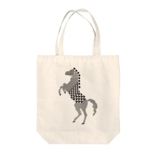 geometric horse Tote bags