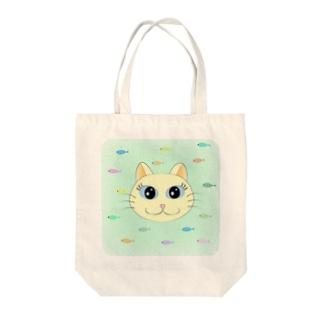 白猫ちゃんと魚 Tote bags