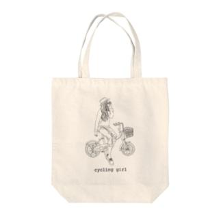 サイクリングガール Tote bags