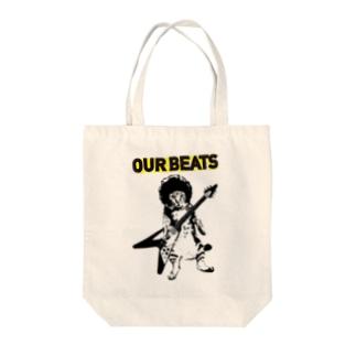 cat rockin' beats Tote bags