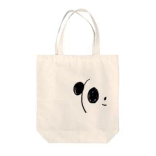 ちらりパンダ Tote bags