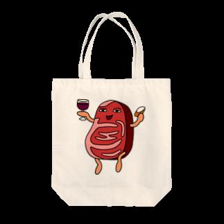 とし☆あずきちゃんと虹色クレヨン出版の贅沢な肉めないニク Tote bags
