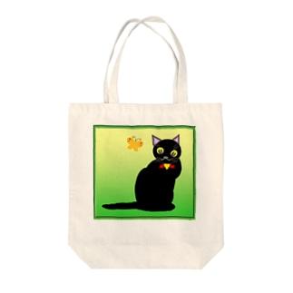 黒猫と蝶々 Tote bags