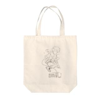 ロックドロップキック Tote bags