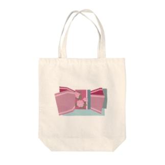 帯柄 水色×ピンク Tote bags