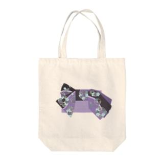 帯柄 黒×紫 Tote bags