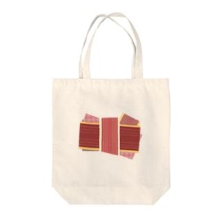 帯柄 赤系 Tote bags