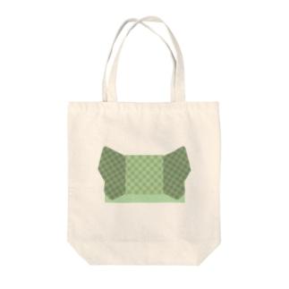 帯柄 緑チェック Tote bags