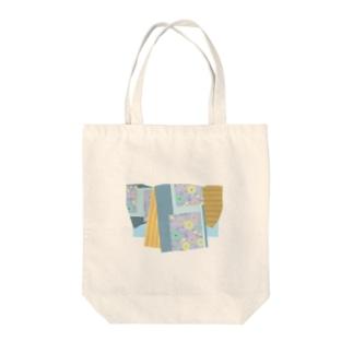 yacocoの帯柄 水色×黄色 Tote bags