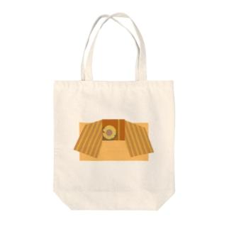 帯柄 オレンジ×ひまわり Tote bags