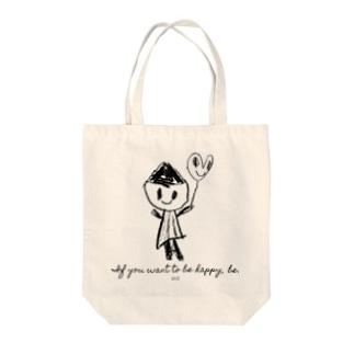 幸せの魔法モノクロ(はれうさぎうさ) Tote bags