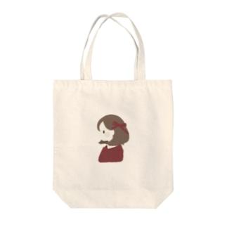 赤色リボンの女の子 Tote bags