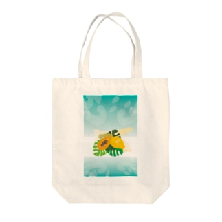 フレッシュなフルーツのパパイヤとモンステラ Tote bags