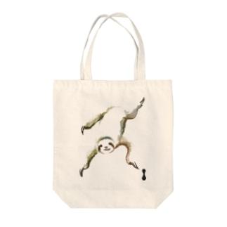 墨絵のナマケモノ Tote bags
