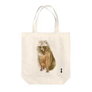 墨絵のたぬき Tote bags