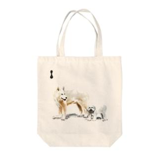 墨絵の犬たち Tote bags