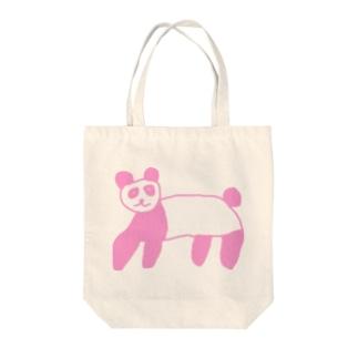 ピンクパンダ Tote bags