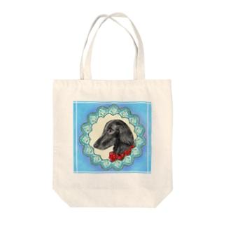 ロマンチストわんこさん フラットコーテッドレトリバー Tote bags