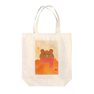 秋のかぜっぴきくまさん Tote bags