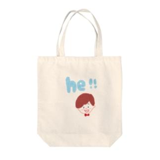 he ! Tote bags