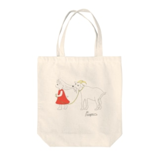 ヤギと女の子 Tote bags