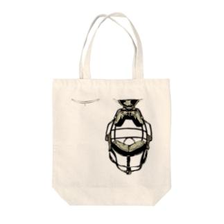 キャッチャーマスク黄 Tote bags