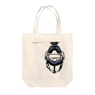 キャッチャーマスク青 Tote bags