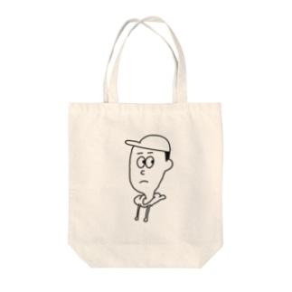 オリバートート(顔・ホワイト) Tote bags