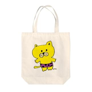 水玉パンツねこ Tote bags