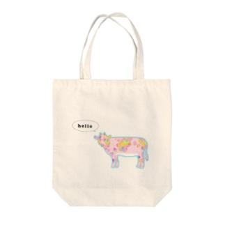 挨拶する美牛 Tote bags