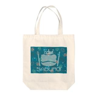 カエル ドラム スケルトンロゴonちりばめられたサブロー Tote bags