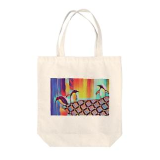 bani-emonのカラフル ペンギンズ Tote bags
